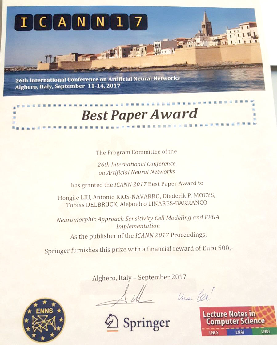 Best paper award at ICANN 2017 for FPGA DVS approach cell